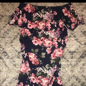Off the shoulder short length maternity dress